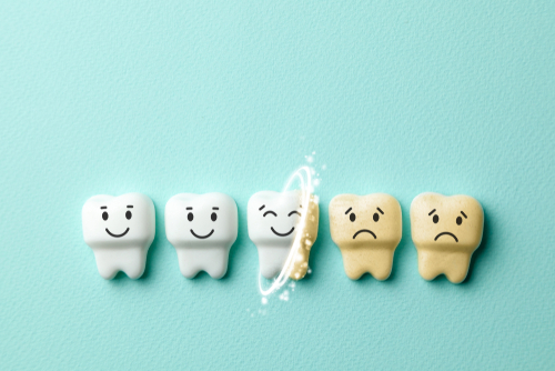 teeth whitening. Healthy white teeth are smiling and yellow from cigarettes and sad coffee-img-blog
