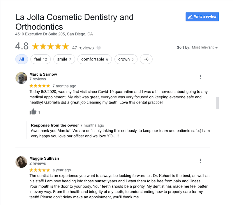 Google review of Dr. Kohani at La Jolla Cosmetic Dentistry & Orthodontics